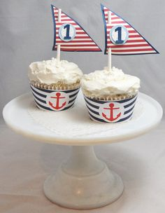 Nautical Cupcake Toppers and Wrappers Set of 12