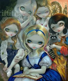 """""""Alice and the Bouguereau Princesses"""" by Jasmine Becket-Griffith (Alice in Wonderland, Cinderella, Rapunzel, Sleeping Beauty & Snow White)"""