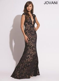Prom Dresses 2014 Jovani Prom 78450 Long Black Lace Cap Sleeves