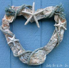 {Coastal Crafts} Oyster Shell Heart Wreath | Beach House DecoratingBeach House Decorating