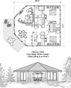 Online House Plan: 1250 sq. ft., 2 Bedrooms, 2 Baths, Patio Collection (PTE-0324) by Topsider Homes.