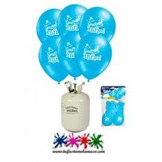 """Pack 1 bombona de helio mini más 10 globos en color azul y frase """"Es un niño"""".  ¡Y en rosa, para niña!"""