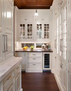 Fabulous House Design With Fascinating Furniture: Charming Traditional Kitchen Design White Cabinetry And Glass Cupboard Door Mirrored Backsplash Ideas Country Home ~ CLAFFISICA Decoration Inspiration Kitchen Butlers Pantry, Rta Kitchen Cabinets, Butler Pantry, White Cabinets, Inset Cabinets, Glass Cabinets, Storage Cabinets, Pantry Cabinets, Display Cabinets