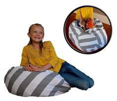 No Beans About it Stuffed Animal Storage Beanbag Chair – Blue Digger