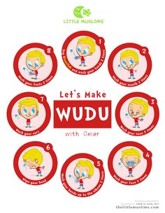 Let's Make WUDU poster from the Little Muslims series. Pick your favorite Little Muslims character! Tape it on your home or masjid restroom mirror so your little Muslims can love to make wudu with … Ramadan Activities, Ramadan Crafts, Activities For Kids, Ramadan Decorations, Religion, Manners For Kids, Islamic Posters, Islamic Quotes, Islam For Kids