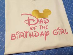 Mouse silhouette Dad of the birthday girl Tshirt white VNECK