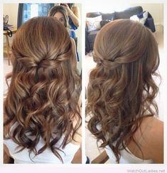 Half Up Half Down Hair with Curls.