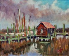 """Mary's Paintings: """"Shem Creek Shack""""   It was a bit chilly on this day out near the water. . . The sun was in and out making the temps fluctuate too.  But always fun to be outside painting!"""
