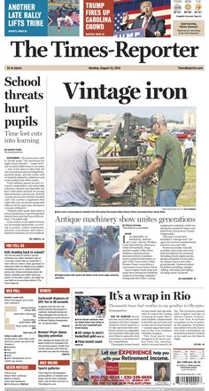 The Times-Reporter front page for Aug. 22. www.timesreporter.com