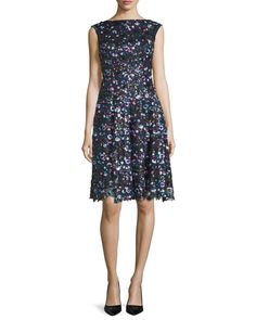 Korbut Cap-Sleeve Embellished Dress, Multi Colors