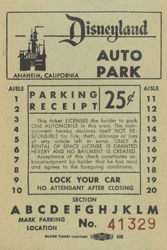 Vintage Disneyland Parking Ticket.                              …