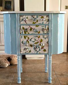 Annie Sloan Duck Egg Blue And Old White with napkin decoupage on the drawers