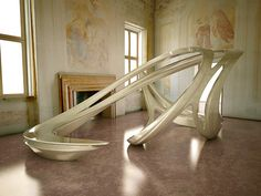 "Allowing your large fluid shaped sculpture to occupy the majority of the room in your Venetian villa. Zaha Hadid ""Aura"", Villa Foscari, Venice, 2008."