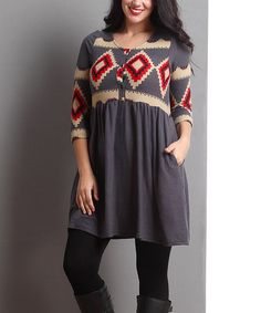 Loving this Charcoal Southwest Scoop Neck Tunic - Plus on #zulily! #zulilyfinds