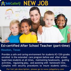SEEKING ESL-CERTIFIED AFTER SCHOOL TEACHER (PART TIME) IN HOUSTON, TEXAS #Job #NewJob #Jobs #Trending #JobOpportunity  #jobgallery  #EducationJobs #teacher #parttimejobs #HoustonJobs #TexasJjobs #Houston #Texas