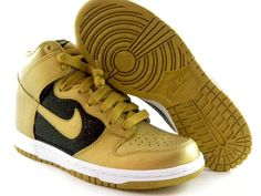 Nike Dunk High Metallic Gold/Black/White Hi Fashion Top Women Wmns Shoes |