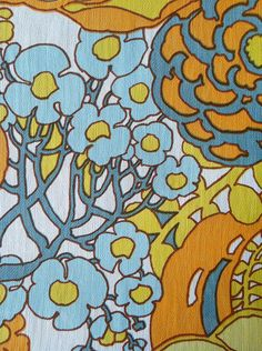 Groovy 70's Wallpaper Floral Print