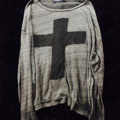 BRANDY MELVILLE TOP Brandy Melville top with cross. One size fits all. Great condition. NO TRADES OFFERS WELCOME Brandy Melville Tops Tees - Long Sleeve