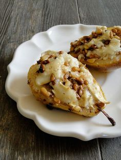 Roasted Pears with Goat Cheese and Pine Nuts
