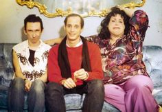 Stiv Bators (as Bo-Bo), John Waters and Divine (as Francine Fishpaw) on the set…