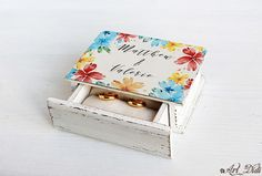 Your place to buy and sell all things handmade Wedding Ring Box, Wedding Boxes, Jewelry Box Makeover, Ring Bearer Box, Personalised Box, Decoupage, How To Memorize Things, Decorative Boxes, Entertaining
