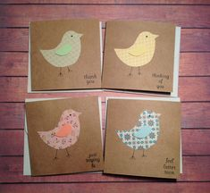 Greeting cards, set of 4 bird cards, mini cards, variety pack, cute cards, handmade cards by PinkyPromiseBargains on Etsy