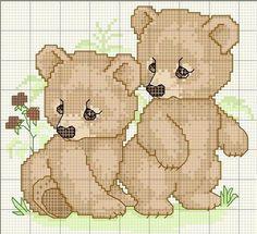 2 bears so cute Cross Stitch For Kids, Cross Stitch Love, Beaded Cross Stitch, Cross Stitch Animals, Cross Stitch Charts, Cross Stitch Embroidery, Funny Cross Stitch Patterns, Cross Stitch Designs, Baby Boy Knitting Patterns