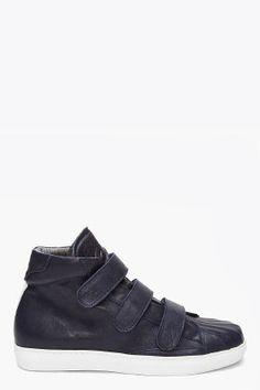 Alexander McQueen dark blue gomm sneakers for men   SSENSE