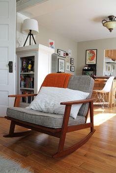 love the chair. I'm just a mid-century Danish teak furniture kinda girl.love the Orange and wall color Teak Furniture, Upcycled Furniture, Mid Century Furniture, Furniture Design, Chair Design, 1 Bedroom Flat, Ideias Diy, Living Spaces, Living Room