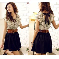 Nouveau Fashion manches courtes points Polka taille robe d'été femmes coréennes