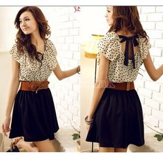 Korean Women Summer New Fashion Short-sleeve Dots Polka Waist Dress  This is adorable. I need it