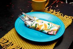 """Woven placemats using a homemade """"loom"""" and Lion Brand yarn..."""