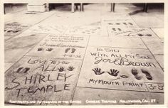Shirley Temple's hand print in front of Grauman's Chinese Theater