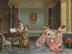 The Recital. Vittorio Reggianini (Italian, Oil on canvas. In Reggianini moved to Florence and established a reputation on the international art market. At this time, the artist's. Italian Painters, Italian Artist, Recital, Victorian Paintings, Vanitas, Love Painting, Baroque Painting, Renaissance Art, Western Art