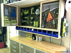 Having a tidy garage makes my life (and work! Here are some of the best DIY garage organization project ideas. Check them out! Tool Storage Cabinets, Garage Tool Storage, Workshop Storage, Garage Tools, Diy Garage, Garage Organization, Organization Ideas, Storage Ideas, Pegboard Storage