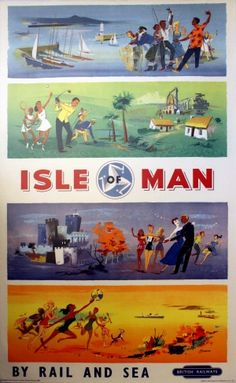 Isle of Man British Railways, 1958 - original vintage poster by Beaven listed on AntikBar.co.uk