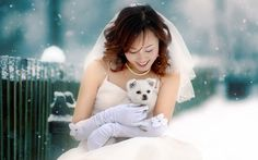 Asian Bride hold a Dog in snowflakes hd wallpaper Full Body Puppets, Men With Cats, Thriller Novels, Girl Background, Asian Model Girl, Winter Bride, Snow Dogs, Asian Bride, Dog Wedding