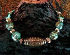 opulent amulets | Turquoise Statement Necklace, Carved Jade Dzi Pendant Necklace, Shaman ...