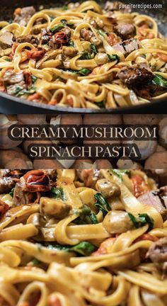 Mushroom Spinach Pasta This creamy mushroom and spinach pasta always hits the spot whenever you crave something comforting and quick to make. Tri-tip beef and tomatoes helps to complete this appetizing recipe. This creamy mushroom and spinach past. Best Pasta Recipes, Lunch Recipes, Beef Recipes, Dinner Recipes, Pasta Recipes Linguine, Recipies, Creamy Mushrooms, Spinach Stuffed Mushrooms, Spinach Mushroom Pasta