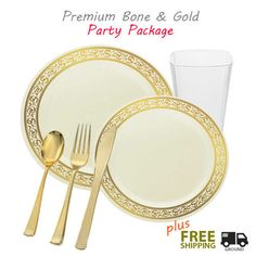 Gold plastic party package with disposable plates tumblers and silver like cutlery. Dinner package  sc 1 st  Pinterest : posh disposable plates - pezcame.com