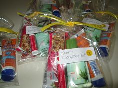 Tomorrow is our last USTA match of the season - so I made all of the ladies little Tennis Emergency Bags! These were so simple to make ...