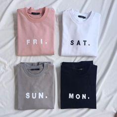 Women Men Fashion Clothing Friday Saturday Sunday Monday FRI SAT SUN MON Tops Crewneck Sweatshirts Sweats Jumper Outfits
