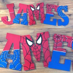 Spiderman Letters by BrookesBootiesnMore on Etsy - Visit to grab an amazing super hero shirt now on sale! Superhero Room, Superhero Birthday Party, 4th Birthday Parties, Birthday Party Decorations, Boy Birthday, Painted Letters, Painted Boxes, Wooden Letters, Fête Spider Man