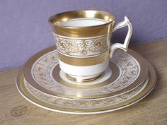 Antique Royal Chelsea tea cup and saucer plate set, English tea cup set, gold tea cup trio, gold and white bone china tea set, wedding gift Royal Tea Cup Set, My Cup Of Tea, Tea Cup Saucer, Tea Sets, Coffee Cups And Saucers, Teapots And Cups, Teacups, White Tea Cups, Turkish Coffee Cups