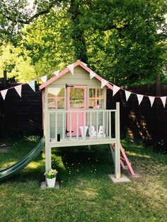 playhouse # Playhouse wooden playhouse pink and grey wooden playhouse beautiful playhouse Girls pink and grey playhouse Kids Garden Playhouse, Kids House Garden, Outside Playhouse, Girls Playhouse, Childrens Playhouse, Build A Playhouse, Playhouse Outdoor, Childrens Play Area Garden, Playhouse With Slide