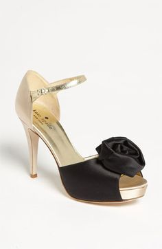 Black + Gold Rosette Pumps | Kate Spade
