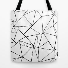 Abstract Dotted Lines Black and White Tote Bag #abstract #dot #dotted #lines #black #white