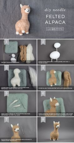 If you've been wanting to craft your own alpaca, you're in luck! Today we're showing you how to make your own needle felted alpaca in just 7 steps. Photo tutorial for DIY needle felted alpaca by Lia Griffith An Alpaca in Sheep's Clothing ❤️✨Do you t Cute Crafts, Felt Crafts, Diy And Crafts, Crafts For Kids, Arts And Crafts, Felted Wool Crafts, Wool Felting, Kids Diy, Decor Crafts