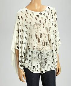 This Black & Off-White Skull Pullover Sweater by Orange is perfect! #zulilyfinds