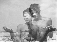 Herbert List - GERMANY. 1933. - GERMANY. At the Baltic Sea. Beach-roamer. 1933.       - Bare chest, Beach, Carnival mask, Exterior, Germany, Man - 18 to 25 years, Overprinting, Reverie, Shell (seashell), White people